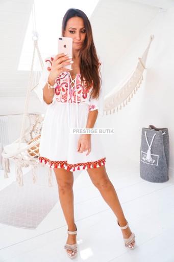 Włoska BOHO biała różowa plażowa frędzle haft S