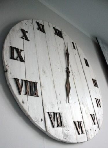 Zegar Shabby z desek z palet duży 60cm