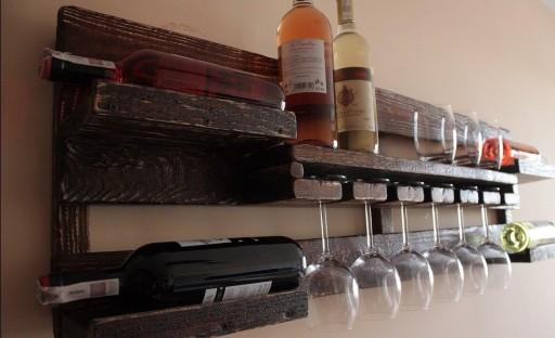 Półka na wino alkohole wieszak rustykalna vintage