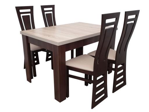 Prostokątny Stół 4 Nowoczesne Krzesła Zestaw