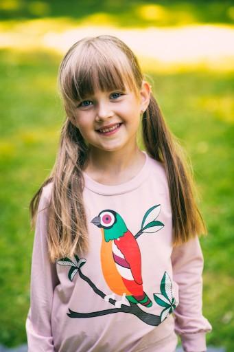 Dres dla dziewczynki różowy papuga 130