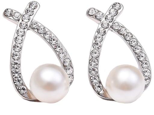 SREBRNE KOLCZYKI sztyfty – cyrkonie lub perły.