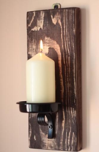 Świecznik wiszący na ścianę- rustykalny vintage