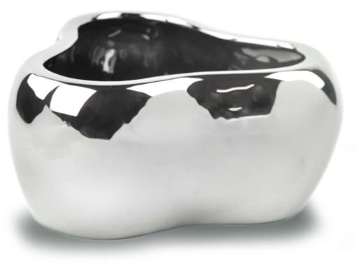 Doniczka Ceramiczna Osłonka Srebrna Na 3 Storczyki