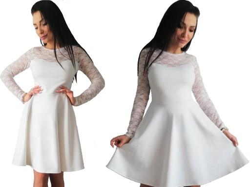 51a734b703c R biała ROZKLOSZOWANA sukienka KORONKA 42 Szyjemy 7920754281 ...