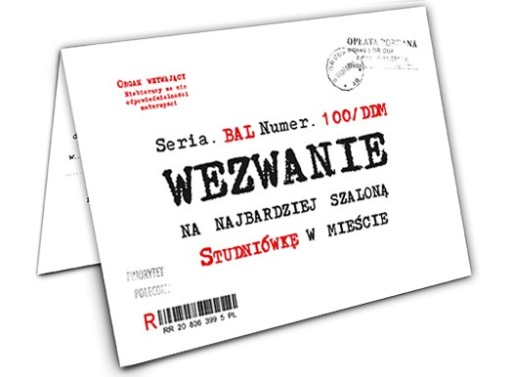 Zaproszenie Wezwanie Na Studniówkę Koperta Zx5200 7340979184