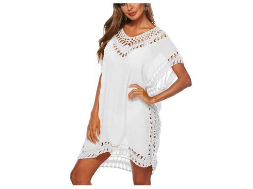 Białe PAREO sukienka plażowa BOHO tunika lato haft