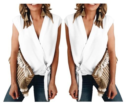 Bluzka koszulowa tunika boho elegancka biała XL 42