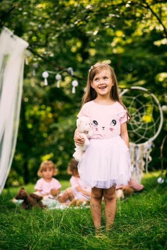 Zestaw dla dziewczynki kotek tiul lato różowa 110