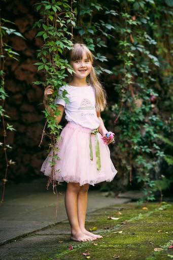 Zestaw dziewczynka spódniczka tiul lato różowa