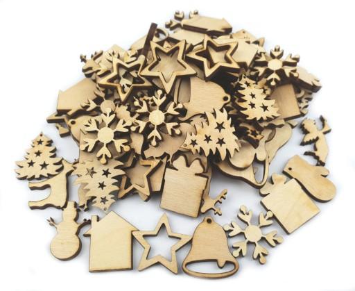 Mini drewniane dekoracje na Święta MIX 100szt 25mm