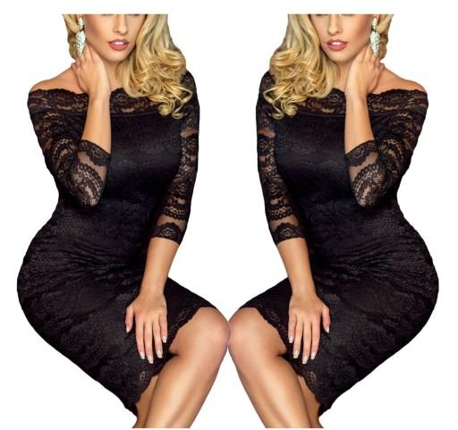 992886664c Sukienka koronkowa duże rozmiary 1291 czarna tu 42 7079890468 ...