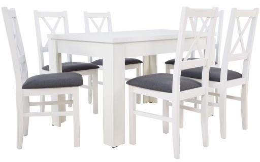 Biały Stół I Krzesła 6szt Zestaw Pokojowy