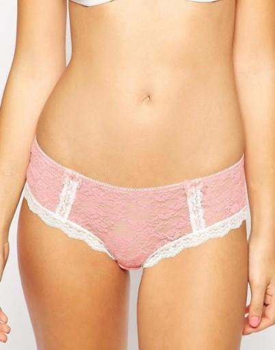 New Look figi majtki hipstery koronkowe różowe 40