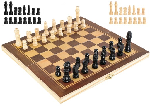 Klasyczne SZACHY drewniane gra w PUDEŁKU etui