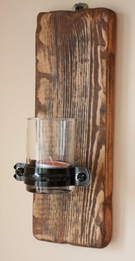 Świecznik wiszący ścienny- rustykalny vintage loft