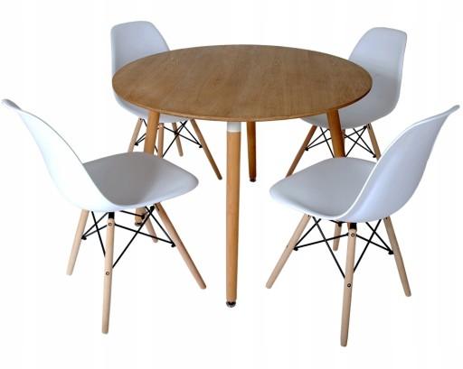 stół okrągły 100 cm i krzesła