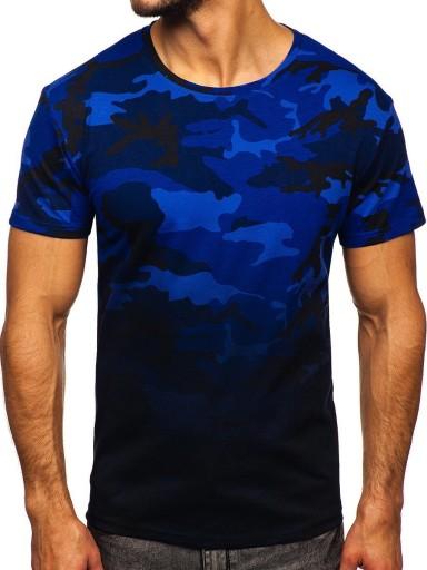 T-SHIRT MĘSKI KOSZULKA GRANATOWA S808 DENLEY_XL 9945176290 Odzież Męska T-shirty ML XIXXML-7