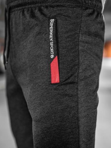 SPODNIE MĘSKIE DRESOWE GRAFITOWE JX1059 DENLEY_L 10025542016 Odzież Męska Spodnie OK BJIQOK-2