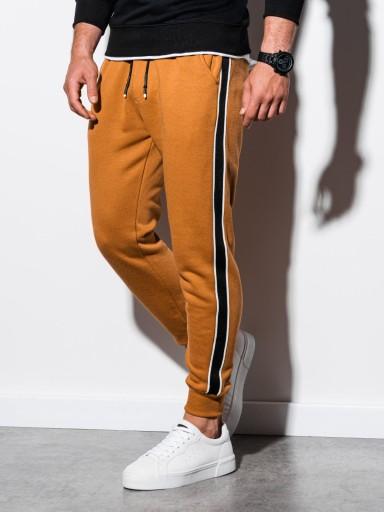 Spodnie męskie dresowe lampasy P898 camel XL 9775312690 Odzież Męska Spodnie ZM ICBJZM-6
