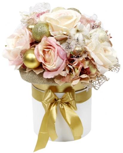 Swiateczny Bukiet Stroik Flowerbox Xl Roz Zloto 9916273897 Allegro Pl
