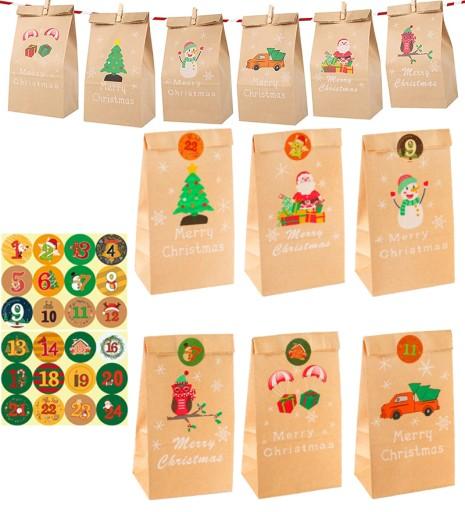24 szt Boże Narodzenie KALENDARZ ADWENTOWY Kraft z