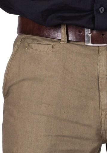 R.33/L34 PAS 92cm lniane CHINOSY oliwka Adan 9891722726 Odzież Męska Spodnie RV TLYFRV-7