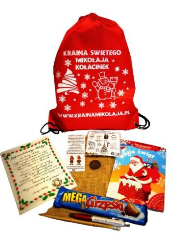 Gotowa paczka mikołajowa, worek św. Mikołaja
