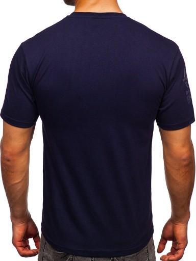 T-SHIRT Z NADRUKIEM GRANATOWY 14315 DENLEY_M 10653563944 Odzież Męska T-shirty HX JKFCHX-8