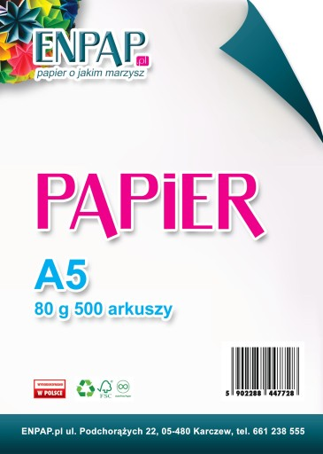 PAPIER KSERO A5 BIAŁY 80G 500 ARK