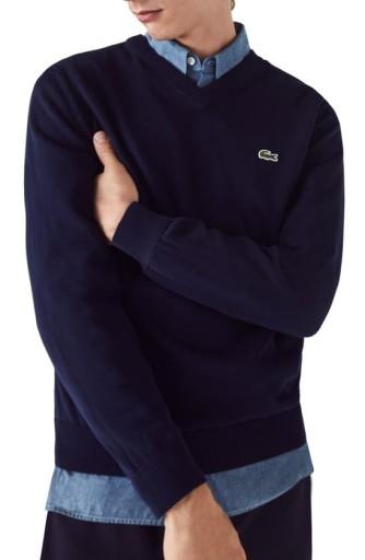LACOSTE SWETER EKSKLUZYWNY GRANATOWY V-NECK M 38 10677633806 Odzież Męska Swetry TZ OORJTZ-7