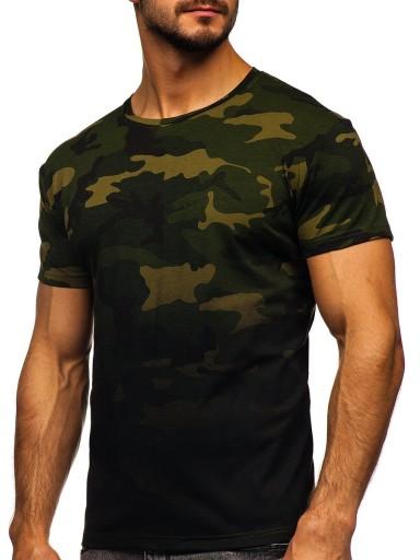 T-SHIRT KOSZULKA Z NADRUKIEM KHAKI S808 DENLEY_L 9945166351 Odzież Męska T-shirty PG IEZNPG-3