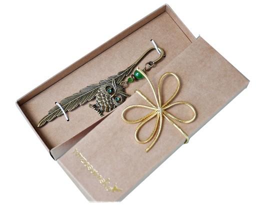 SOWA VINTAGE zakładka do książki prezent, pudełko