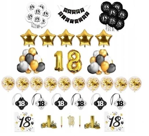 18 Osiemnaste Urodziny Balony Zestaw Dekoracje 8084407222 Allegro Pl