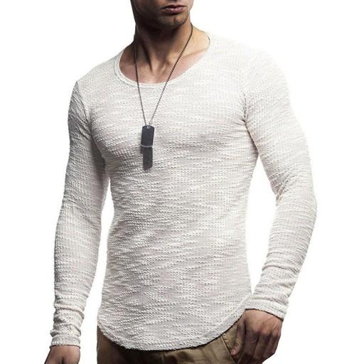 okrągłym dekoltem i długim rękawem Dzianina męska 9814326550 Odzież Męska Swetry XR QSKWXR-3