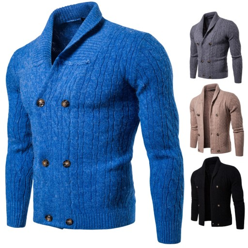 dwurzędowa kurtka męska z klapami Dzianina męska 10635595142 Odzież Męska Swetry DB NHUQDB-2