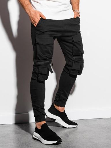 Spodnie męskie joggery kieszenie P995 czarne M 10582271439 Odzież Męska Spodnie IH XEBXIH-9