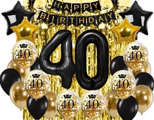 Balony Na 40 Urodziny Zlote Konfetti Kurtyna 9455744820 Allegro Pl