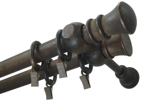Karnisz drewniany fi 28 BRĄZ WENGE podwójny 2,2 m