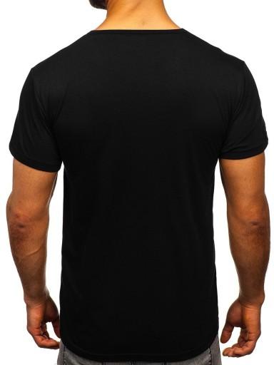 T-SHIRT MĘSKI Z NADRUKIEM CZARNY KS1958 DENLEY_L 10155587075 Odzież Męska T-shirty QE TGTSQE-4