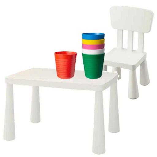 Zestaw stolik krzesełko IKEA MAMMUT białe 24h