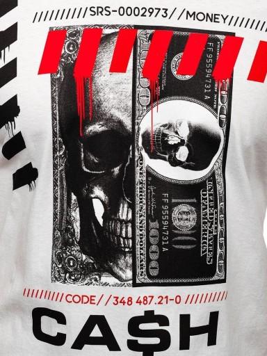 T-SHIRT MĘSKI Z NADRUKIEM BIAŁY 14315 DENLEY_2XL 10163680338 Odzież Męska T-shirty JU JZXDJU-9