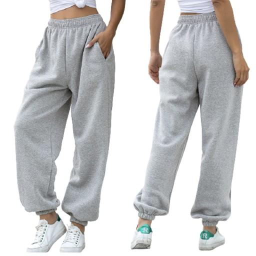 Spodnie dresowe BAGGY DAMSKIE wysoki stan szare M