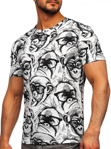 T-SHIRT MĘSKI Z NADRUKIEM BIAŁY 14929 DENLEY_2XL 10617476378 Odzież Męska T-shirty JU QCNBJU-4