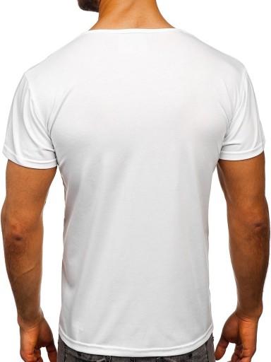T-SHIRT MĘSKI Z NADRUKIEM BIAŁY KS1943T DENLEY_2XL 10155581519 Odzież Męska T-shirty TI UBPQTI-8