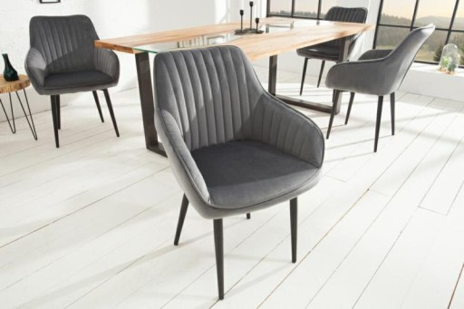 Krzesło aksamit szare do salon loft wygodne duże