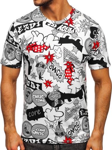 T-SHIRT MĘSKI Z NADRUKIEM BIAŁY 14917 DENLEY_2XL 10194353343 Odzież Męska T-shirty IH NJCZIH-7