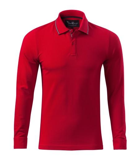 Koszulka polo men dł rękaw L czerwony 258 ADLER