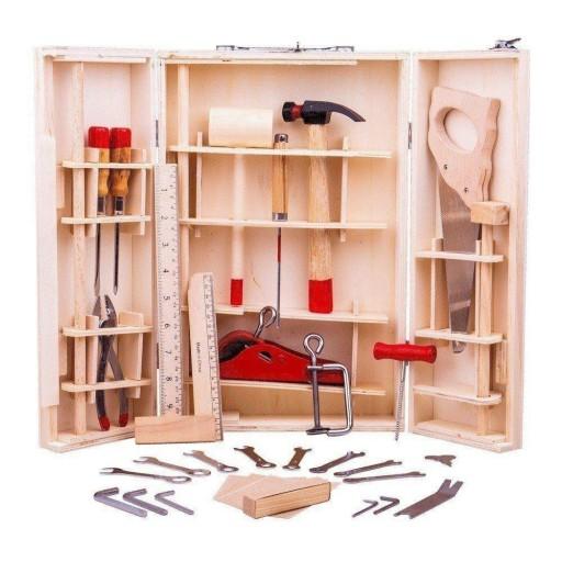 Walizka drewniana skrzynka + narzędzia dla dzieci
