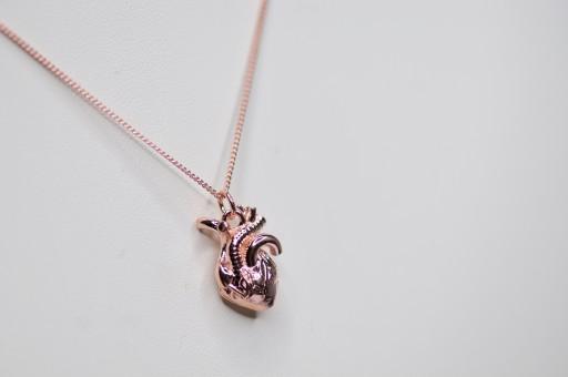 Srebrny Naszyjnik Ludzkie Serce 3d Rozowe Zloto 9119584108 Allegro Pl